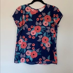 Paper crown & Rifle Paper Co Anthropologie top XS